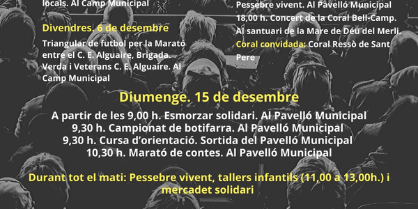 Cartell dels actes per la Marató a Alguaire
