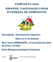 Campanya de XIPATGE, VACUNACIÓ I CENS D'ANIMALS DE COMPANYIA